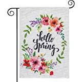 hogardeck Hello Spring Wreath Garden Flag, Vertical Double Sided Yard Flag, Premium Burlap Spring Decor, Outdoor Indoor Patio