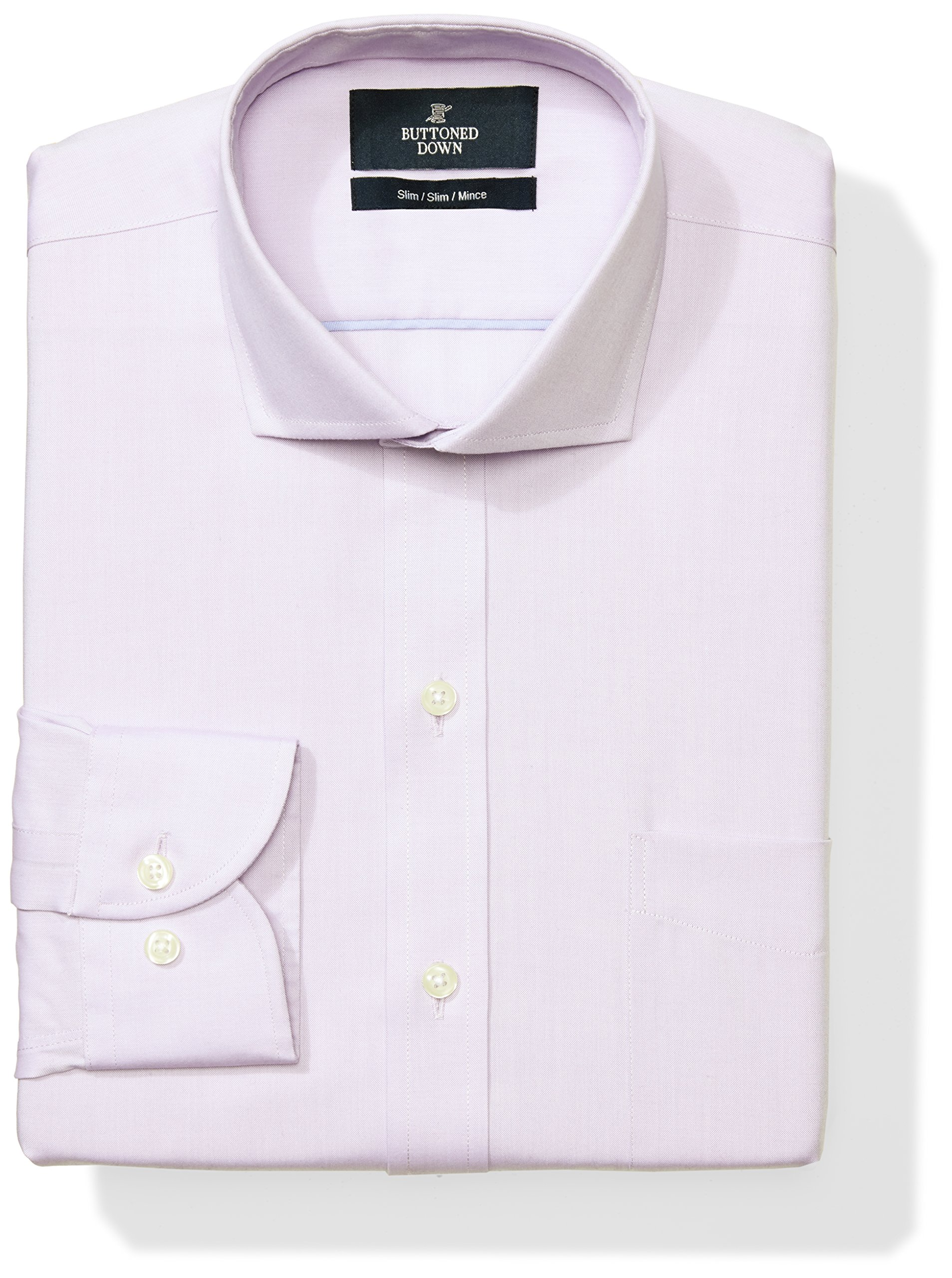 Buttoned Down Men's Slim Fit Cutaway-Collar Solid Non-Iron Dress Shirt (Pocket), Purple, 17'' Neck 38'' Sleeve by Buttoned Down
