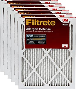 Filtrete MPR 1000 14x20x1 AC Furnace Air Filter, Micro Allergen Defense, 6-Pack