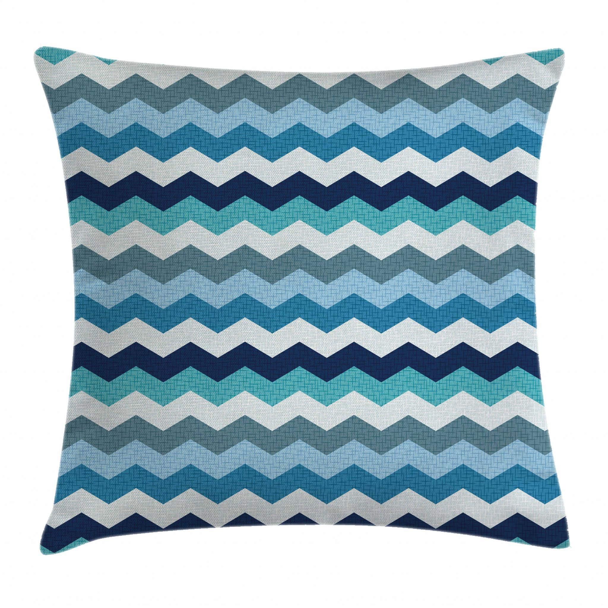 Ambesonne Aqua Throw Pillow Cushion Cover, Retro Vintage Chevron Geometrical Zig Zag Stripes, Decorative Square Accent Pillow Case, 26 X 26 Inches, Turquoise Pale Blue Navy Blue and Seafoam