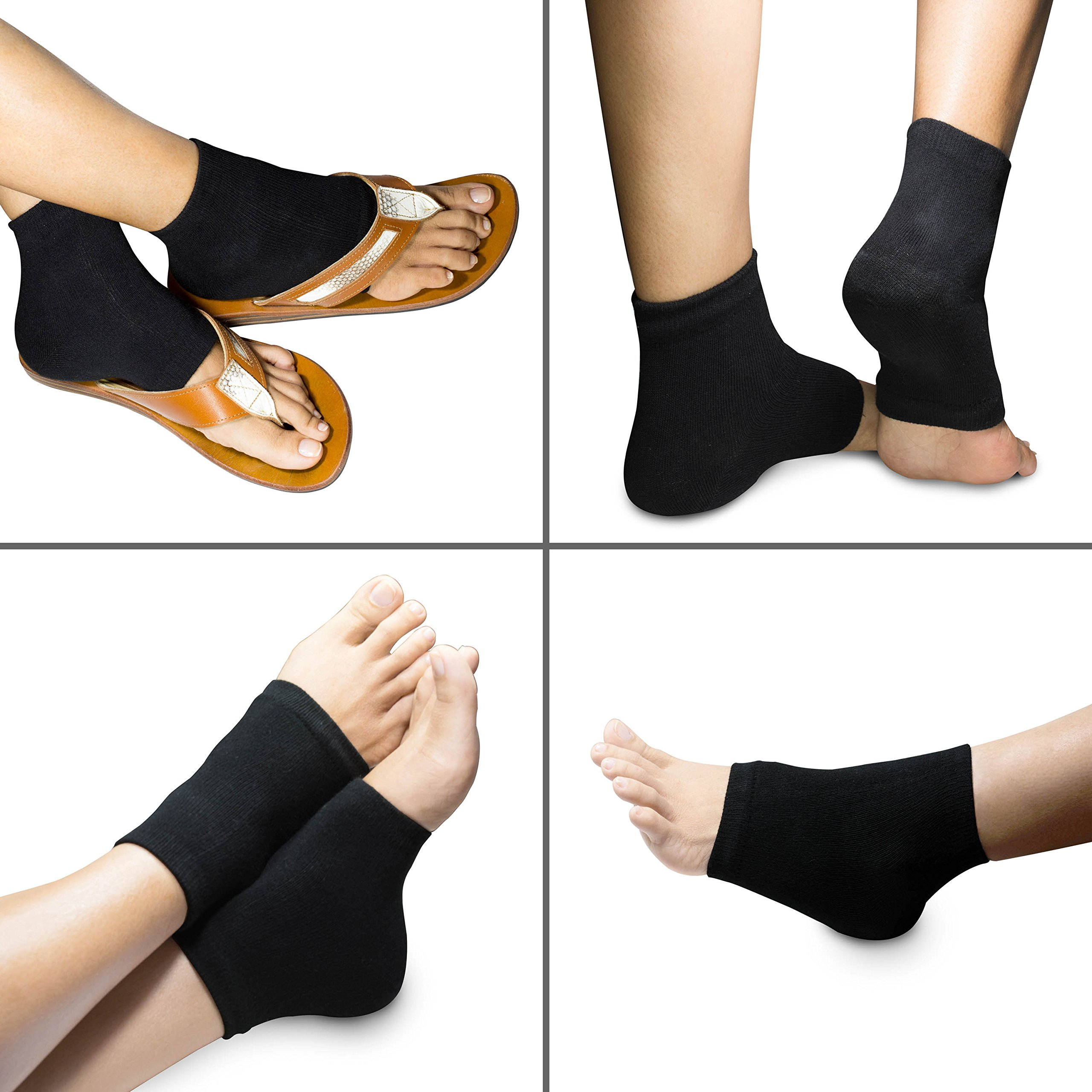 3 PAIRS-Moisturizing Gel Heel Socks w/ Enriched Vitamins for Dry Hard Cracked Heels & DIY Simple Home Remedies by Triim Fitness by Triim Fitness (Image #8)
