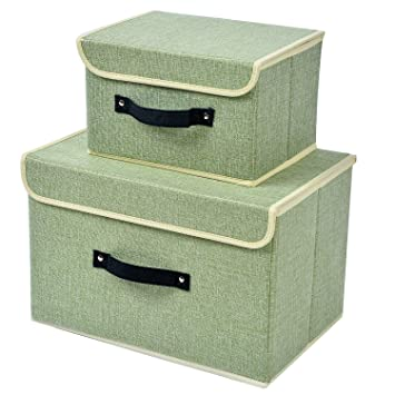 Ordinaire 2 Pack Large Small Linen Storage Box With Lid And Handle Foldable Closet  Organizer Clothes
