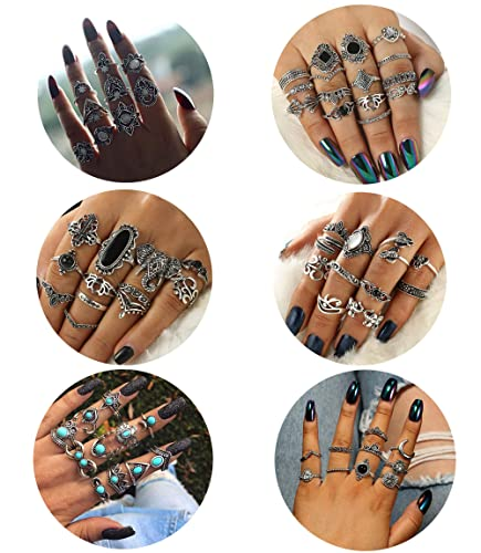 Adramata 4 Set Vintage Knuckle Rings for Women Stackable Midi Finger Ring Set,4 Set Vintage Bohemian Earrings Set