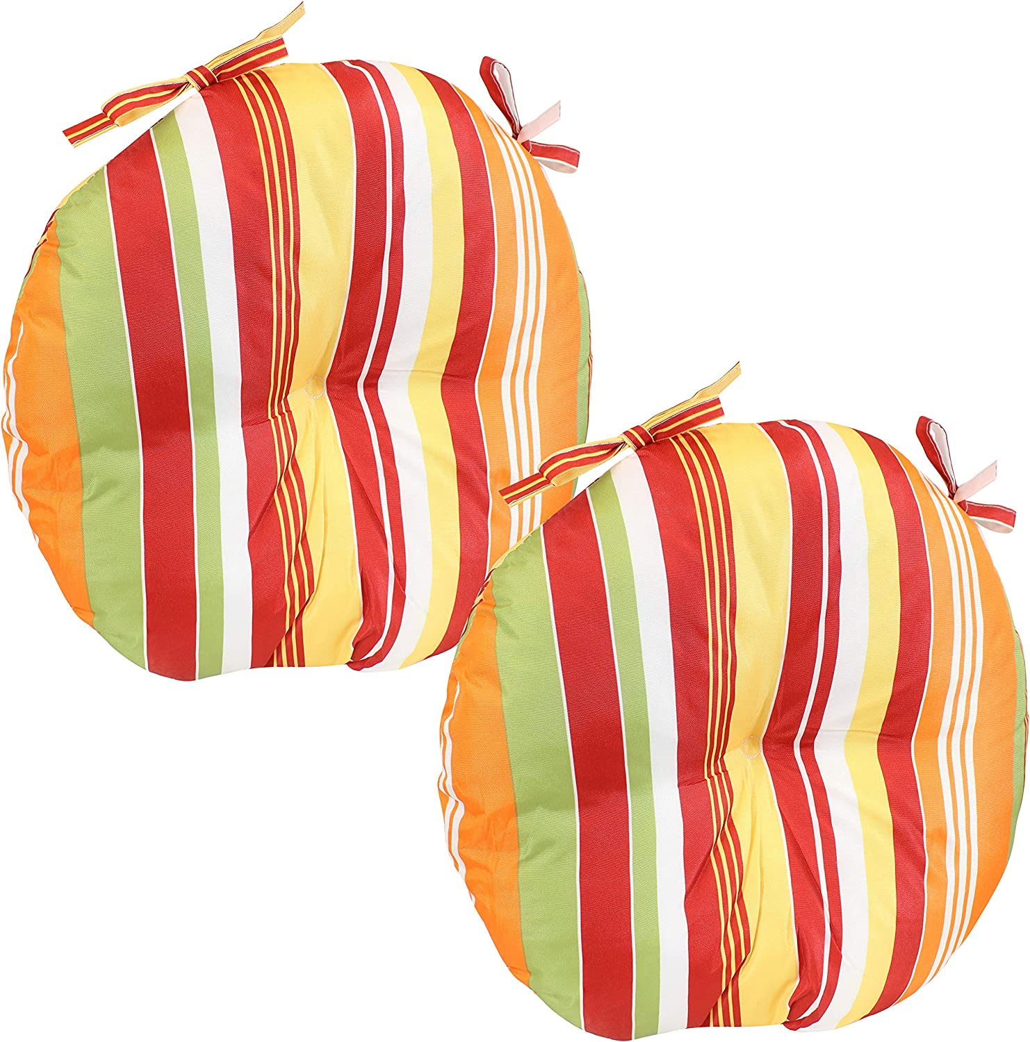 Sunnydaze Polyester Outdoor Bistro Seat Cushions - Set of 2 - 15-Inch Diameter x 4 Inches Thick - Cozy Round Seat Cushions for Outdoor Chairs - Perfect for The Porch, Lawn, or Deck - Sherbert Stripes