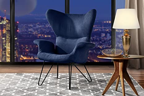 Accent Chair for Living Room, Linen Arm Chair with Natural Wooden Legs  (Navy)