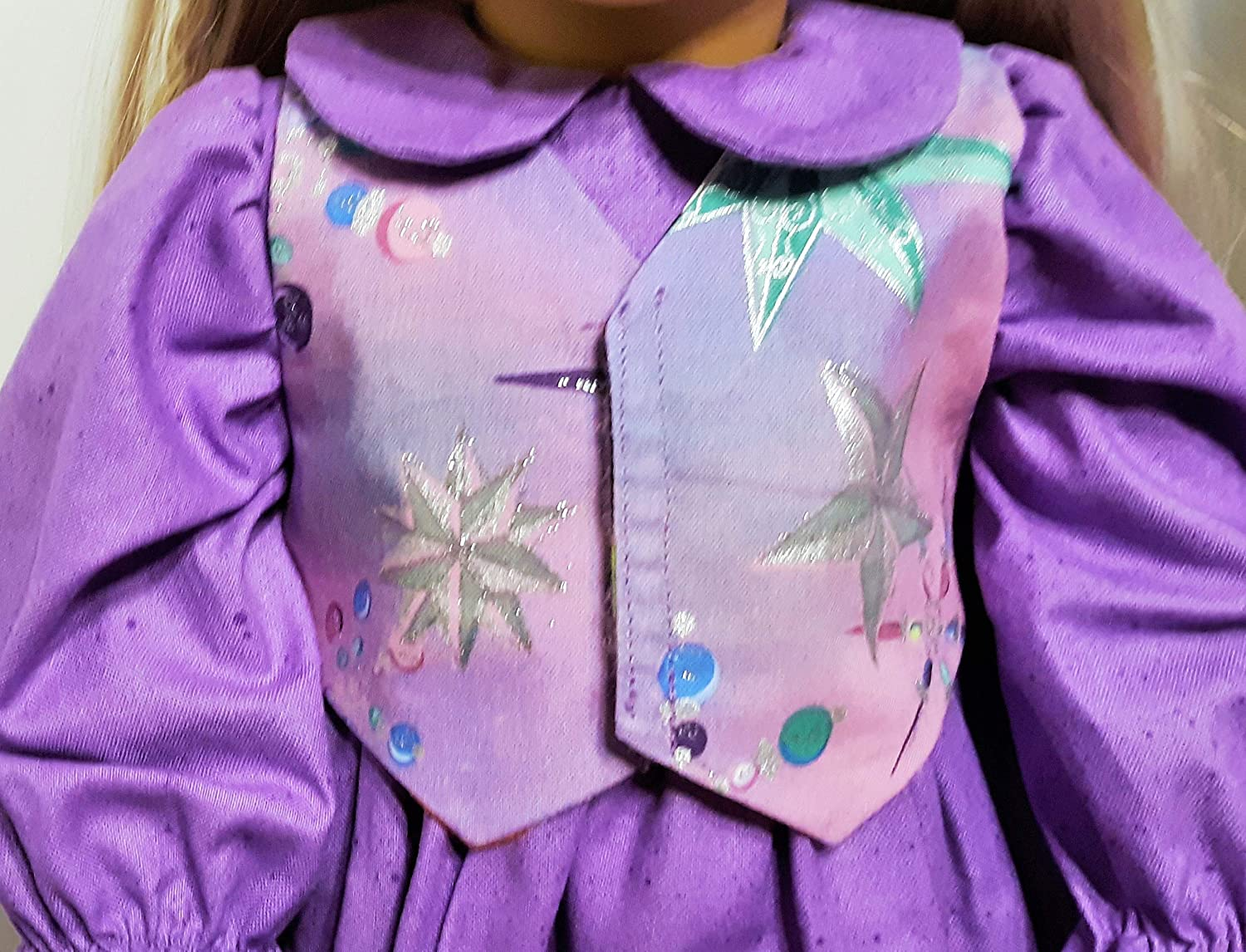 Reversible Pinafore with 2 Matching Bows and Reversible Vest That Fit American Girl 18 Dolls 4 Holidays in all Purple Doll Dress Set