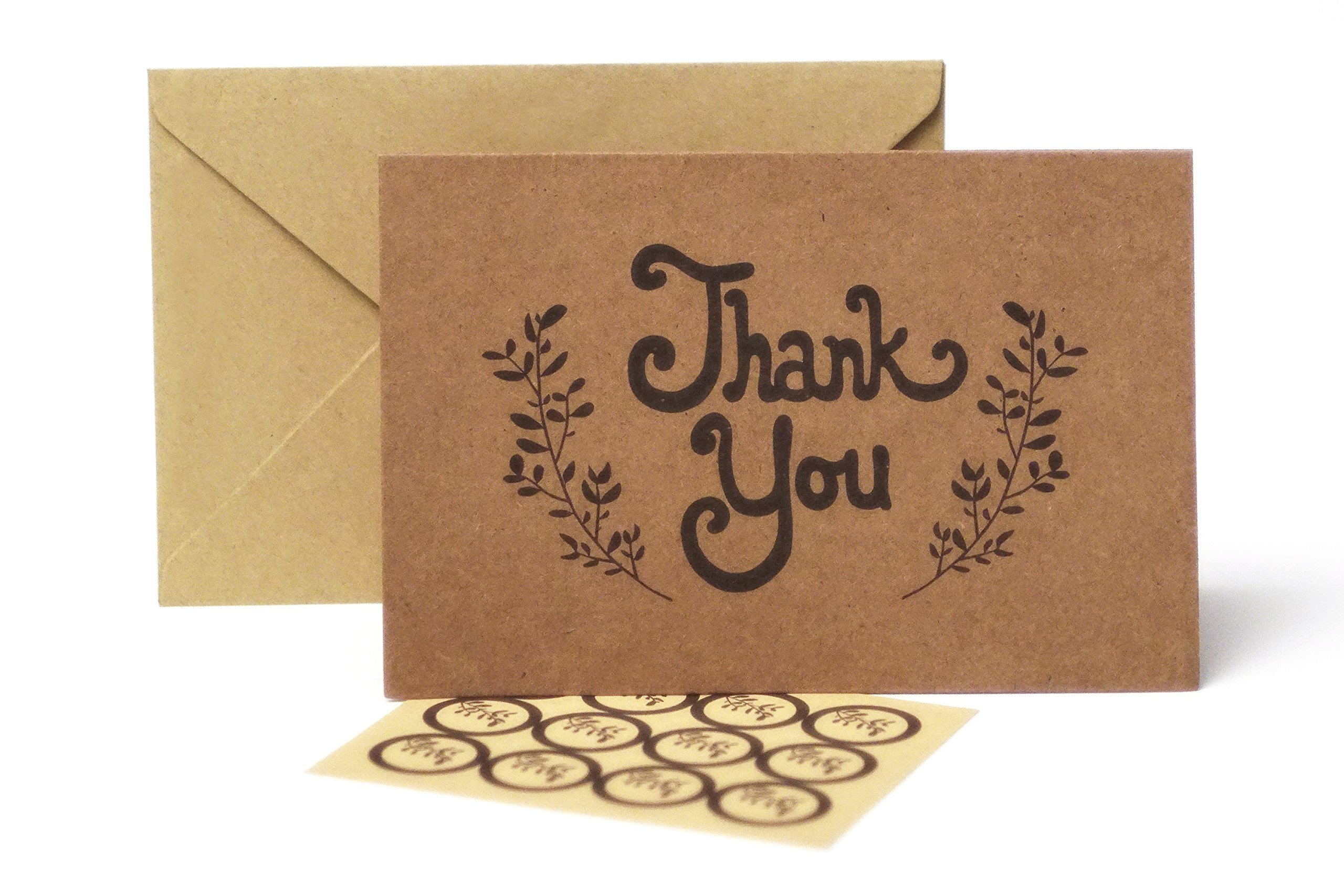 Thank You Cards-100 Bulk Pack with Envelopes, Plus 108 Stickers, Kraft Paper and Rustic Design, Blank on Inside, 4X 6 Size, Ideal for Weddings, Baby Showers, Graduations, etc.