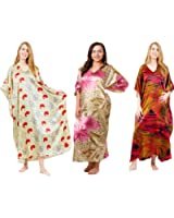 Gift Pack Caftans, 3 Best Floral Prints Caftans, One Size Plus, Special#22