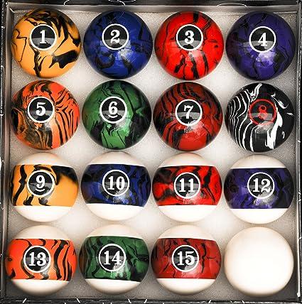 Pool Table Billiard Ball Set Dark Color Marble Swirl & Amazon.com : Pool Table Billiard Ball Set Dark Color Marble Swirl ...
