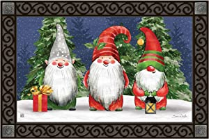 Studio M Gnome for Christmas Fall/Winter MatMates Decorative Floor Mat Indoor or Outdoor Doormat with Eco-Friendly Recycled Rubber Backing, 18 x 30 Inches