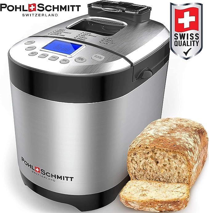 Pohl Schmitt máquina de pan de acero inoxidable, 17 en 1 con dispensador de fruta de nueces, bandeja antiadherente y panel táctil digital, 3 tamaños de pan 3 colores de corteza, reserva,