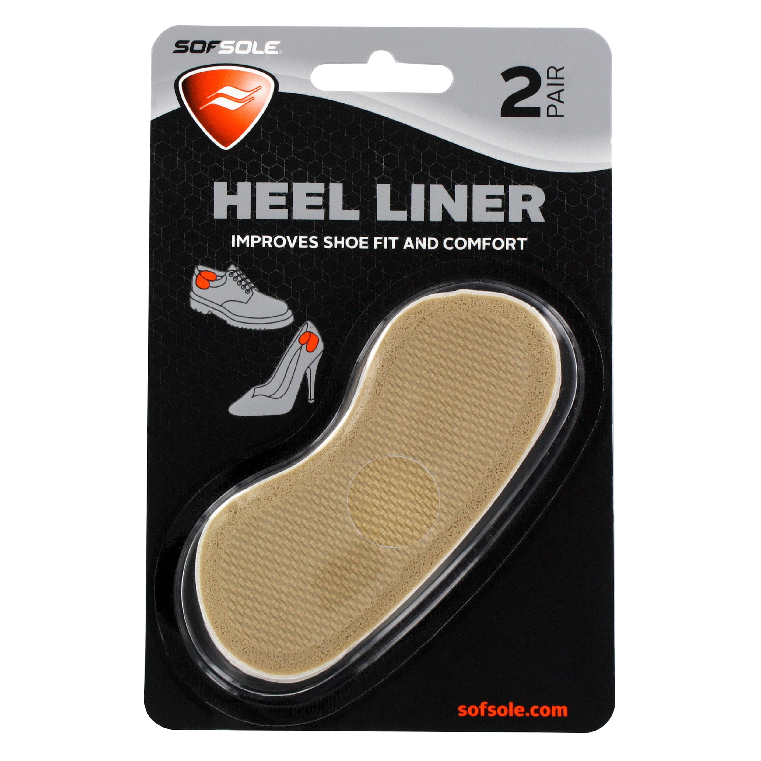 Sof Sole Heel Liner Cushions for Improved Shoe Fit and Comfort, 2 Pair by Sof Sole (Image #1)