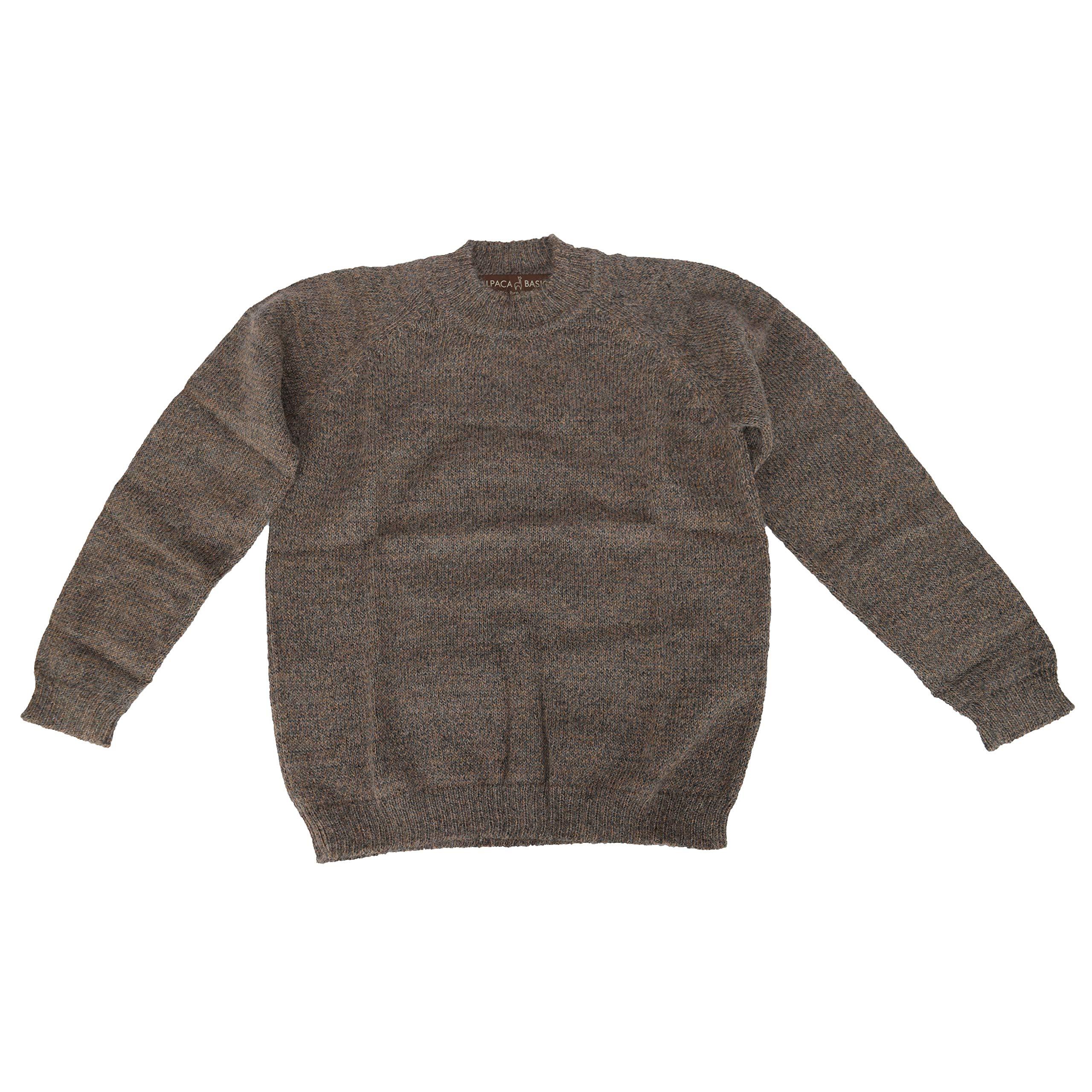 Alpaca Basics Boys Handmade 100% Alpaca Wool Crew Neck Sweater (Taupe, 14)