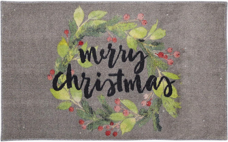 Amazon Com Mohawk Home Christmas Wreath Gray Area Rug 2 6x4 2 Furniture Decor