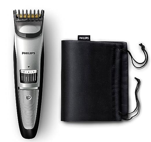 Philips BEARDTRIMMER Series 3000 QT4018/15 Recargable cortadora de Pelo y maquinilla-Afeitadora (Negro, Plata, 1 cm, 0,5 mm, Titanio, 120 min): Amazon.es: Hogar
