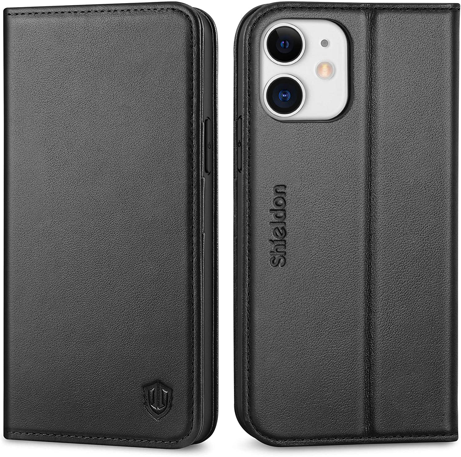 SHIELDON Case for iPhone 12/12 Pro 5G, Genuine Leather Wallet Case Magnetic RFID Blocking Credit Card Holder Kickstand Shockproof Case Compatible with iPhone 12/12 Pro (6.1 Inch 2020) - Black