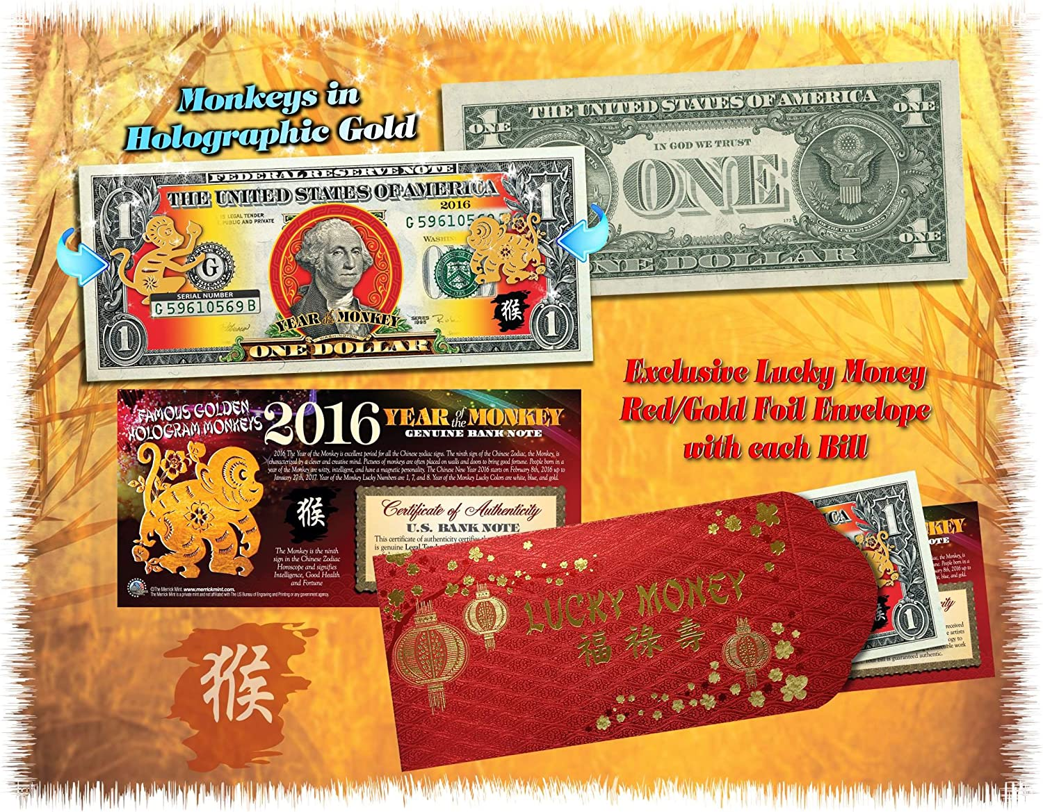 2017 CNY Lunar YEAR OF THE ROOSTER Polychromatic 8 Roosters US $2 Bill Red 10