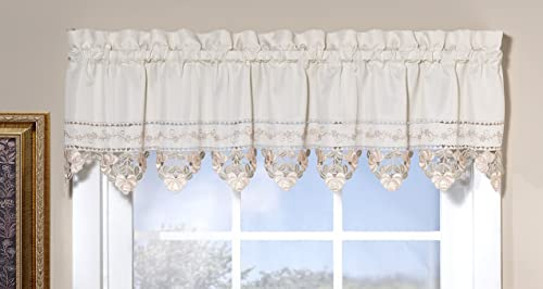 Today s Curtain Regal Reverse Embroidery 14-Inch Valance, Ecru Peach