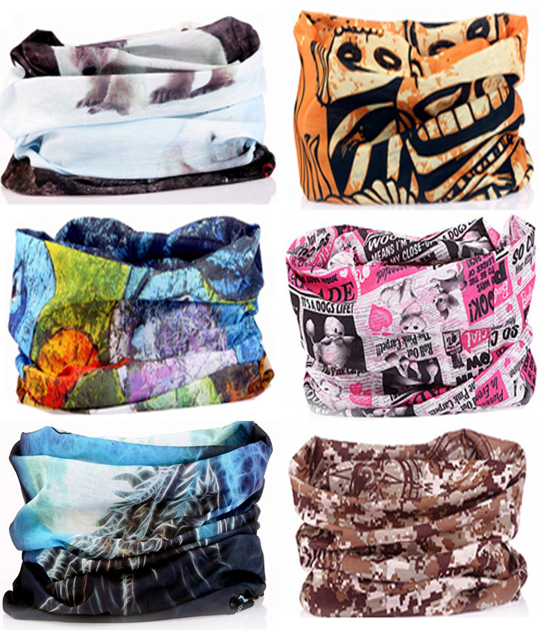 SmilerSmile 6pcs Assorted Seamless Outdoor Sport Bandanna Headwrap Scarf Wrap, 12 in 1 High Elastic Magic Headband & Collars Muffler Scarf Face Mask with UV Resistance,(Style 12)