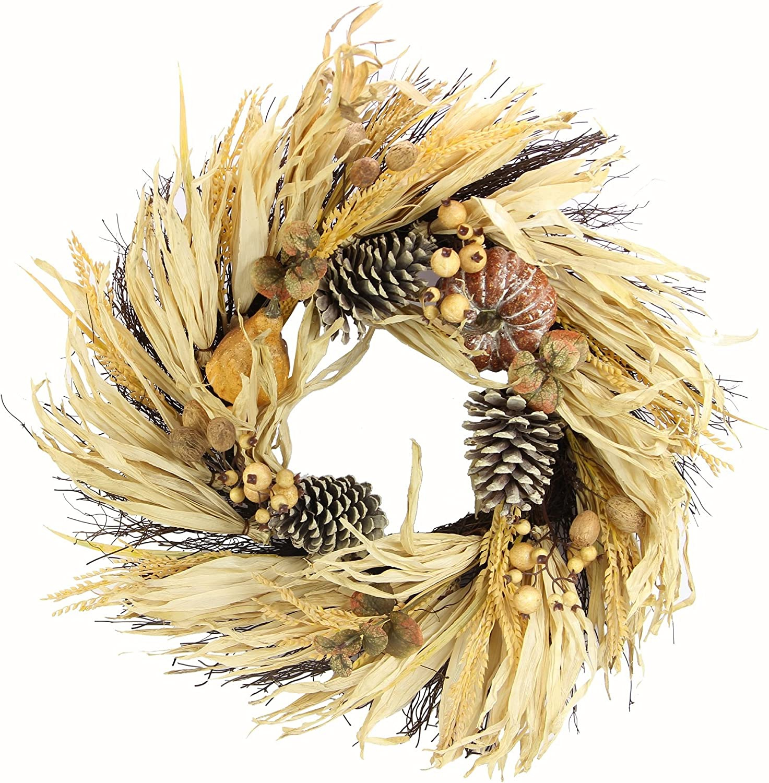 "Admired By Nature GFW7018-Natural 24"" Faux Pumpkin Wheat Berry Corn Husk Wreath"