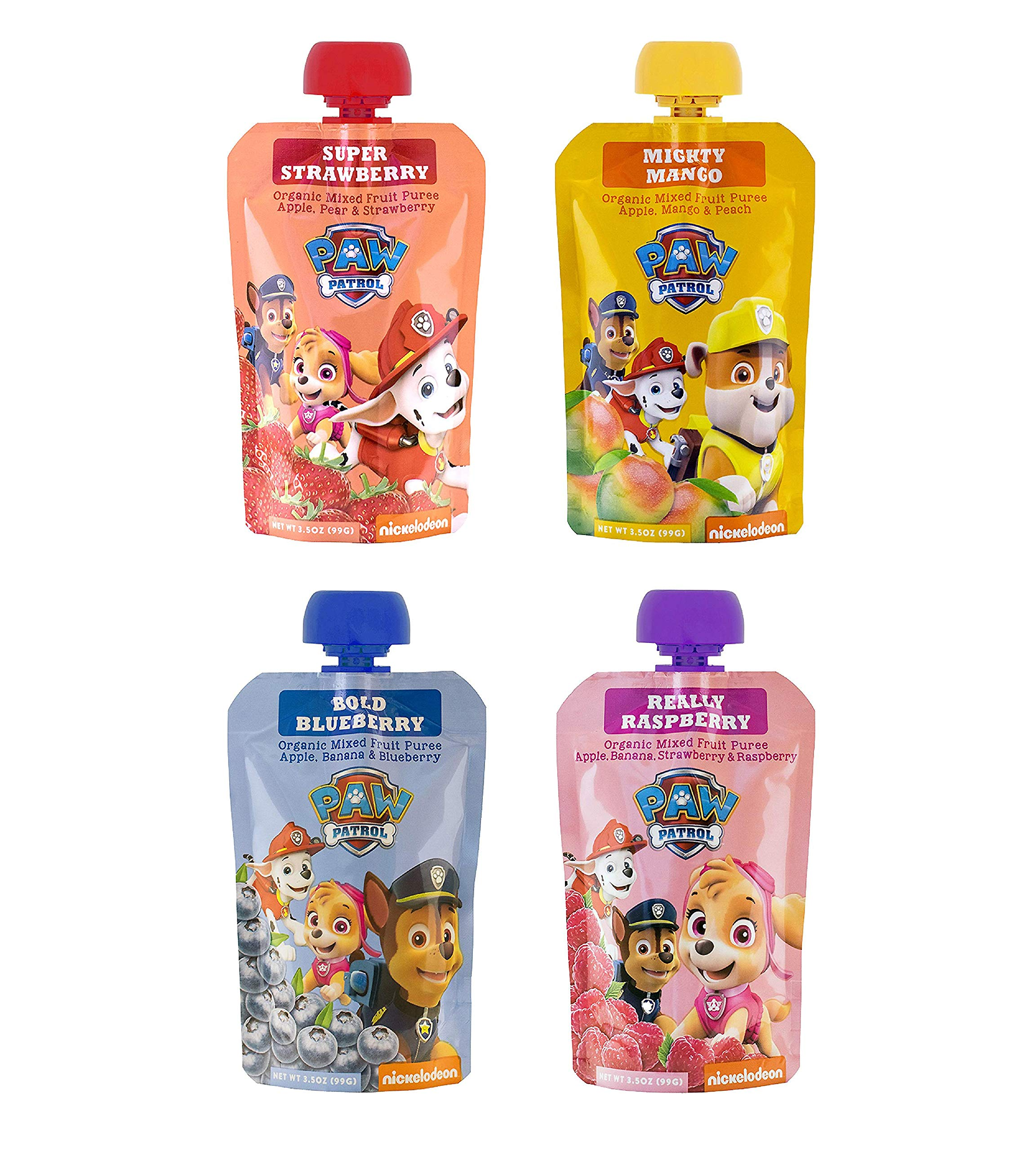 PawPatrol - (Super Strawberry, Really Raspberry, Mighty Mango, Bold Blueberry) USDA Organic, BPA Free, Fruit Squeeze Pouch | Pack of 40 Total