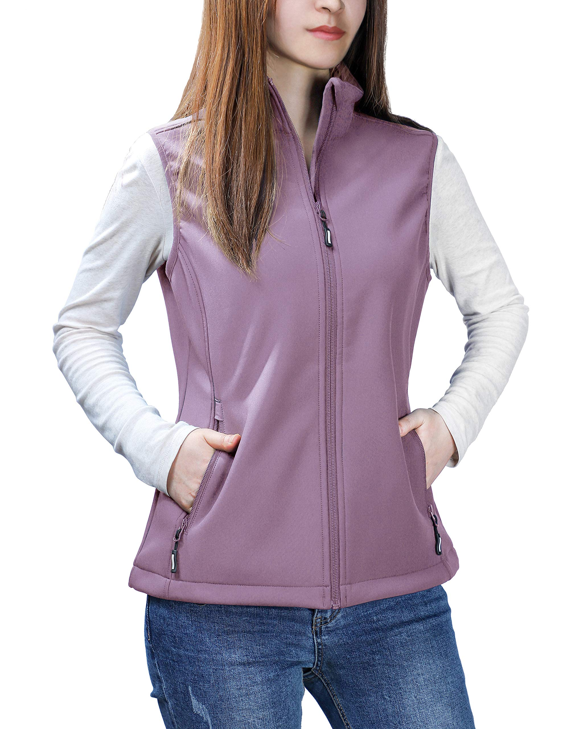 Outdoor Ventures Women's Mia Lightweight Sleeveless Fall Windproof Soft Bonded Fleece Softshell Zip Vest Lilac Purple by Outdoor Ventures