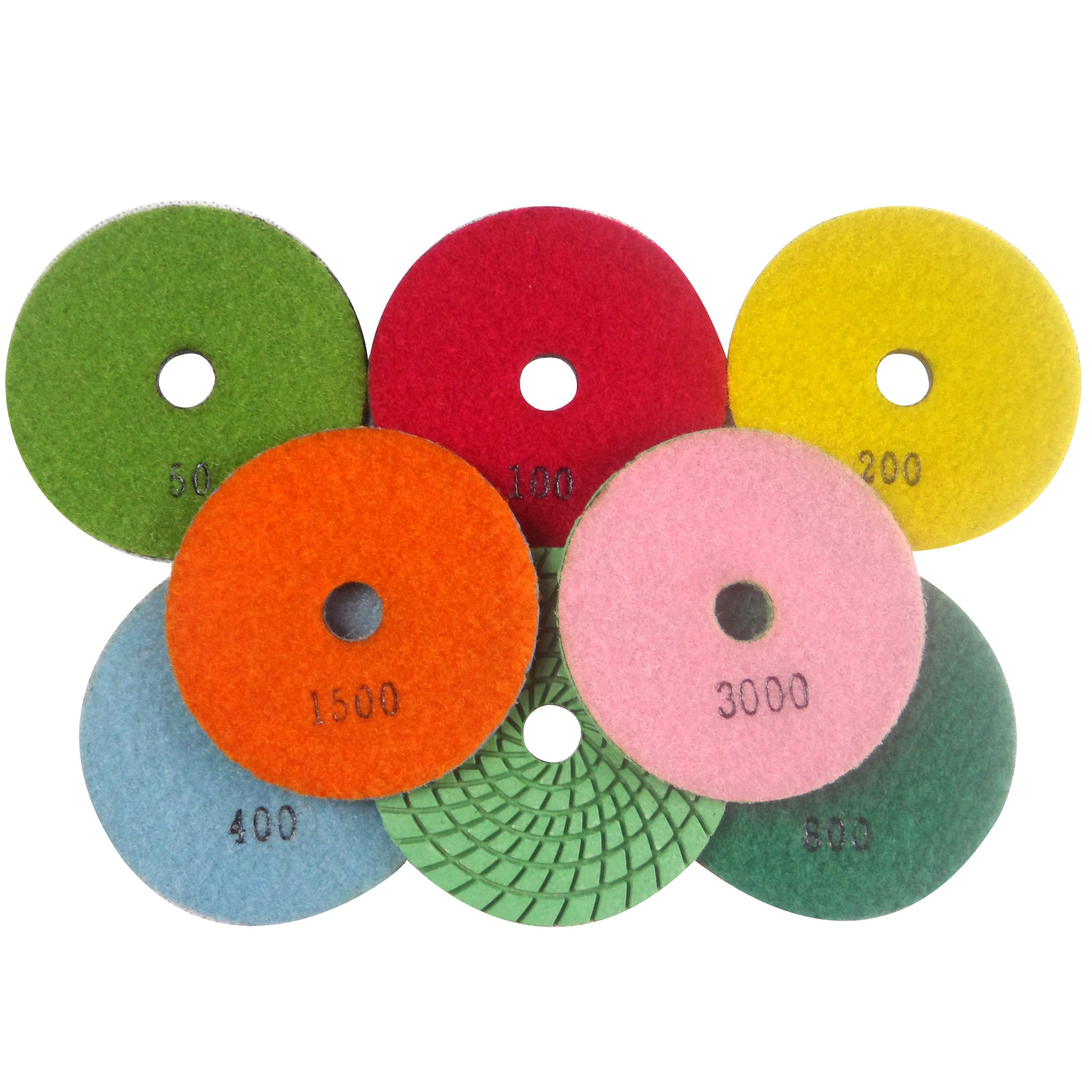 Konfor 4'' Wet/Dry Diamond Polishing Pads for Grinding Granite Marble Concrete Stone Pack of 7 by Konfor