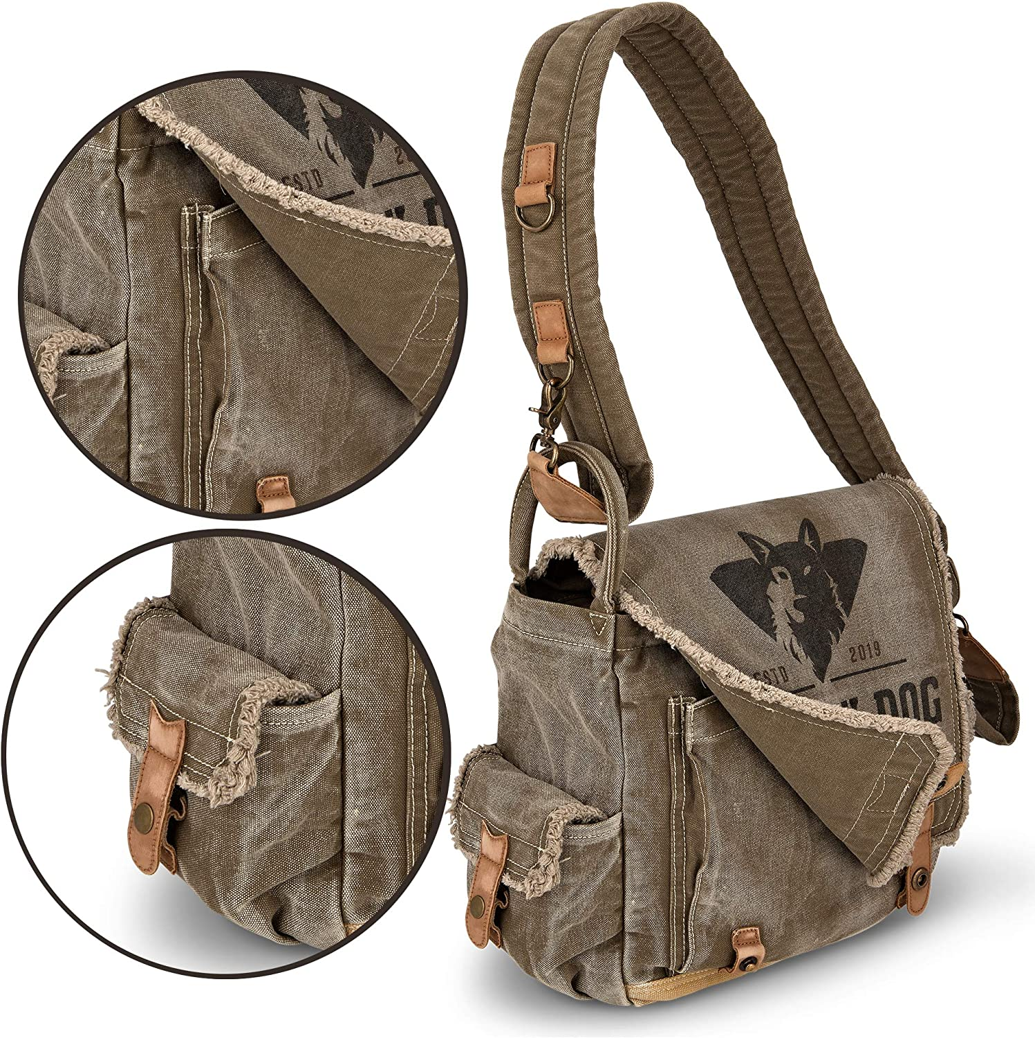 Durable Travel Courier Gear and Accessories Casual Shoulder Bags for Traveling Canvas 13 inch Laptop Satchel for School or Business Vintage Messenger Bag for Men and Women