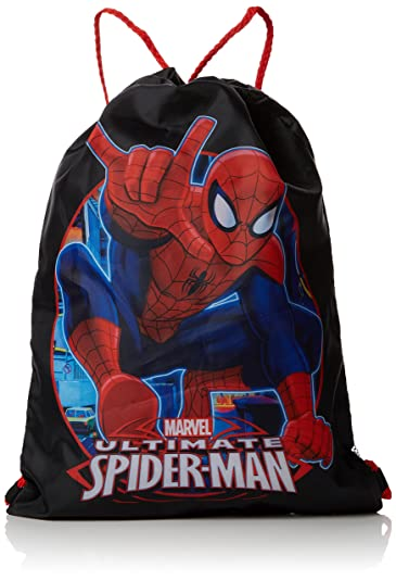 e61c12e9cc8f Spiderman Trainer Drawstring Bag, 39 cm, Black: Amazon.co.uk: Sports ...