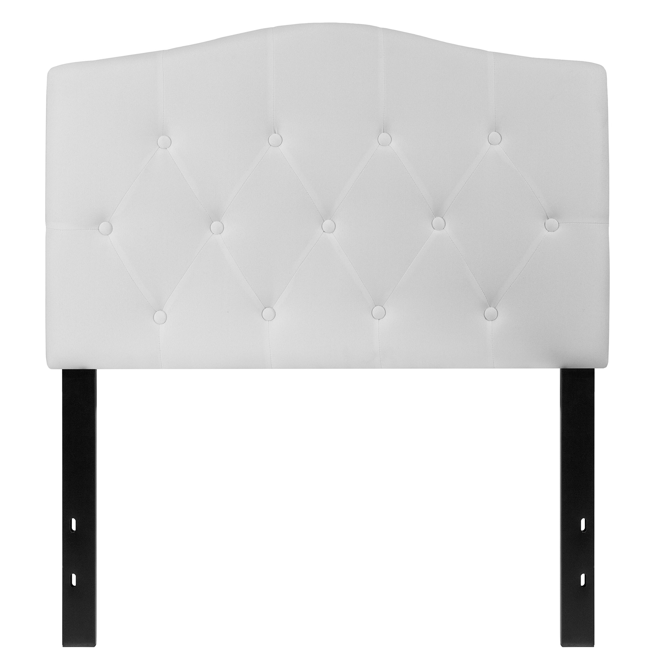 Flash Furniture Cambridge Tufted Upholstered Twin Size Headboard in White Fabric by Flash Furniture