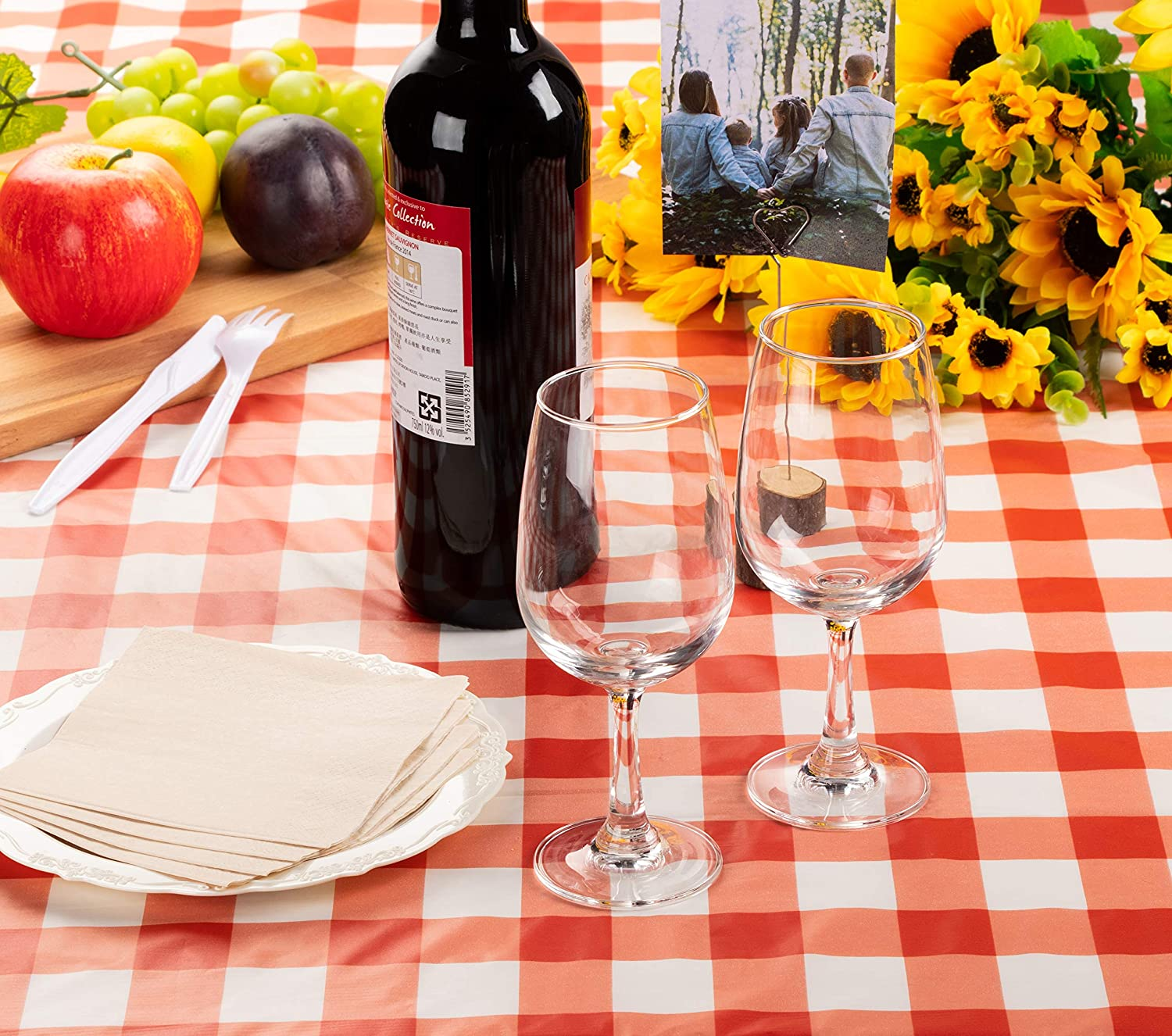 Fits 4.5 Feet Wide Tables 98 Feet x 54 Inches Disposable Table Cover On a Roll with Self-Cutter Box Dispenser Red Gingham Juvale Picnic Indoor Outdoor Party Supplies Red Plastic Tablecloth Roll