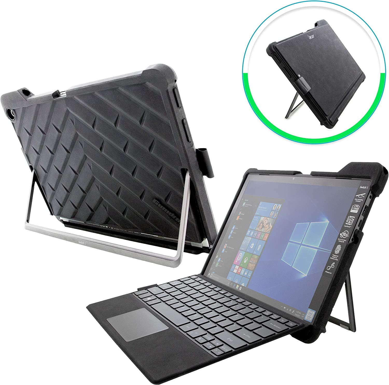 Gumdrop DropTech Case with Built-in Stylus Slot for Acer Switch 5 Laptop for Commercial, Business and Office Essentials- Black, Rugged, Shock Absorbing, Extreme Drop Protection