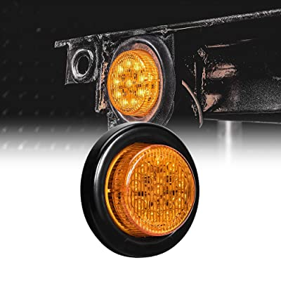 "2"" Round 10 LED Light [2 in 1 Reflector] [Polycarbonate Reflector] [10 LEDs] [D.O.T. Certified] [2 Year Warranty] Side Marker Light for Trucks and Trailers - Amber: Automotive"