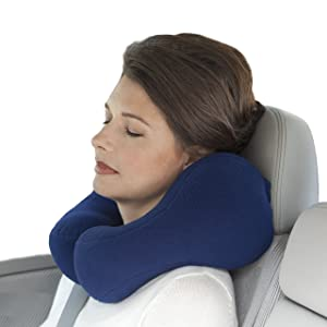 Sunshine Pillows Ergonomic Travel Neck Pillow, Cervical Neck Support for Neck Pain Relief and Prevention, Cushion Roll Traction Sleeping Car Bus Train Airplane Riding, Navy Blue, Medium