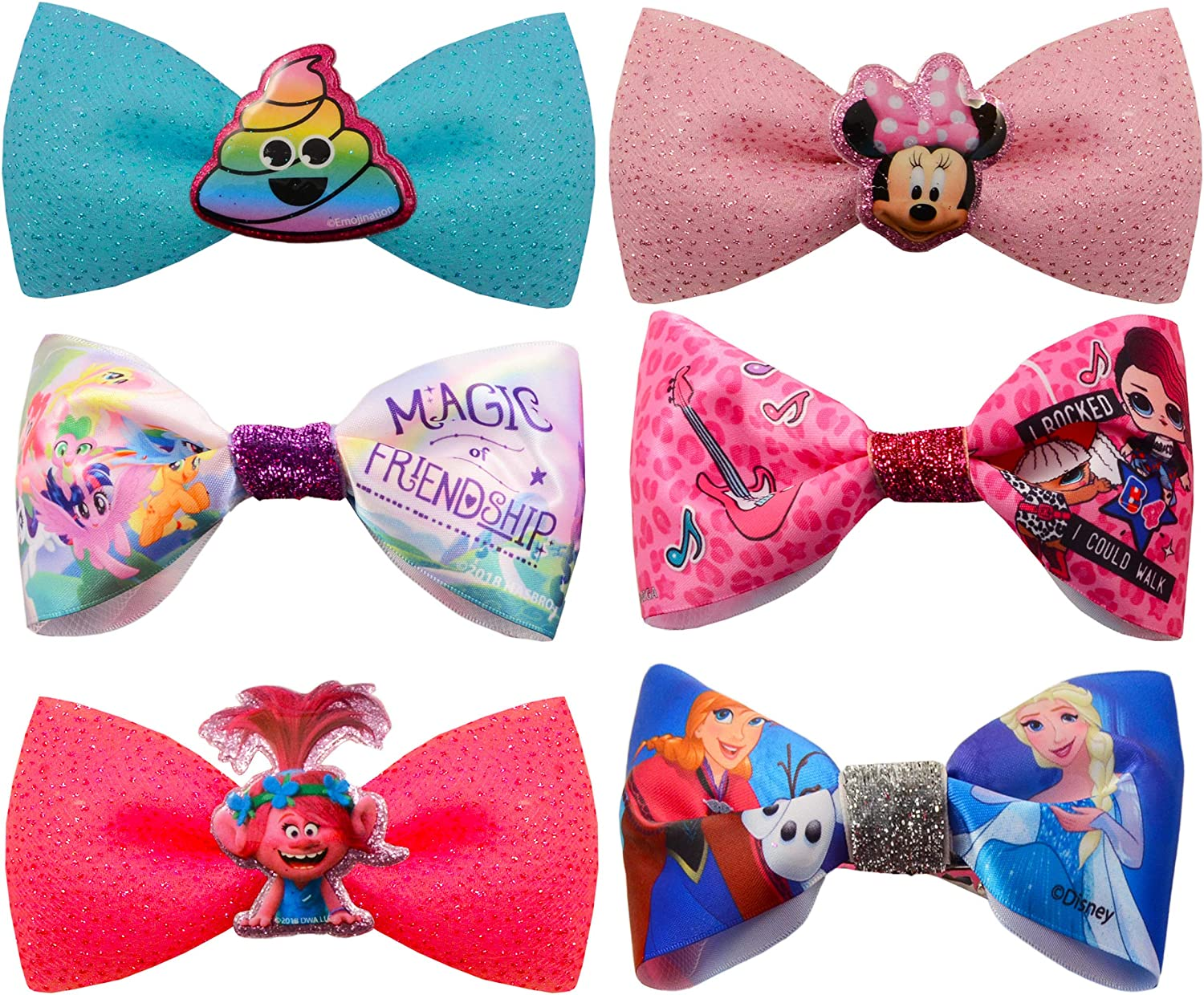My Little Pony Minnie Mouse 6 Pack Girls Hair Bows Hair Clips Featuring Disney Frozen Trolls Girls Party Supplies Girls Hair Accessories Set Girls Party Favors Bundles LOL Dolls and Emojis