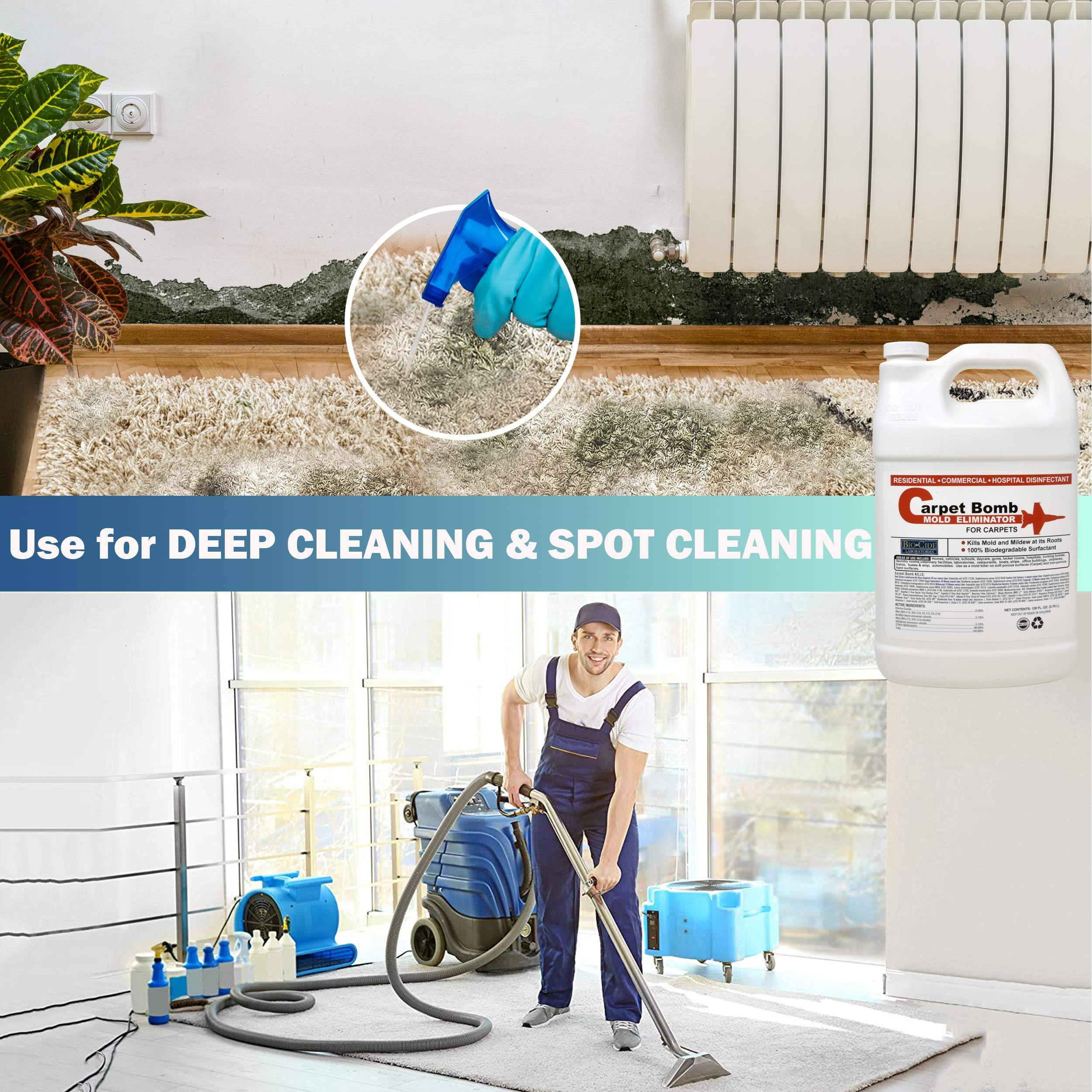 Biocide Carpet Mold Cleaner, Deep Stain and Odor Remover Solution, Mold Killer, Fogger, Deep Cleaner for all Surfaces, Fiber Materials, Rugs, Upholstery Fabric, Compatible with all Carpet Cleaners by Biocide Laboratories (Image #5)