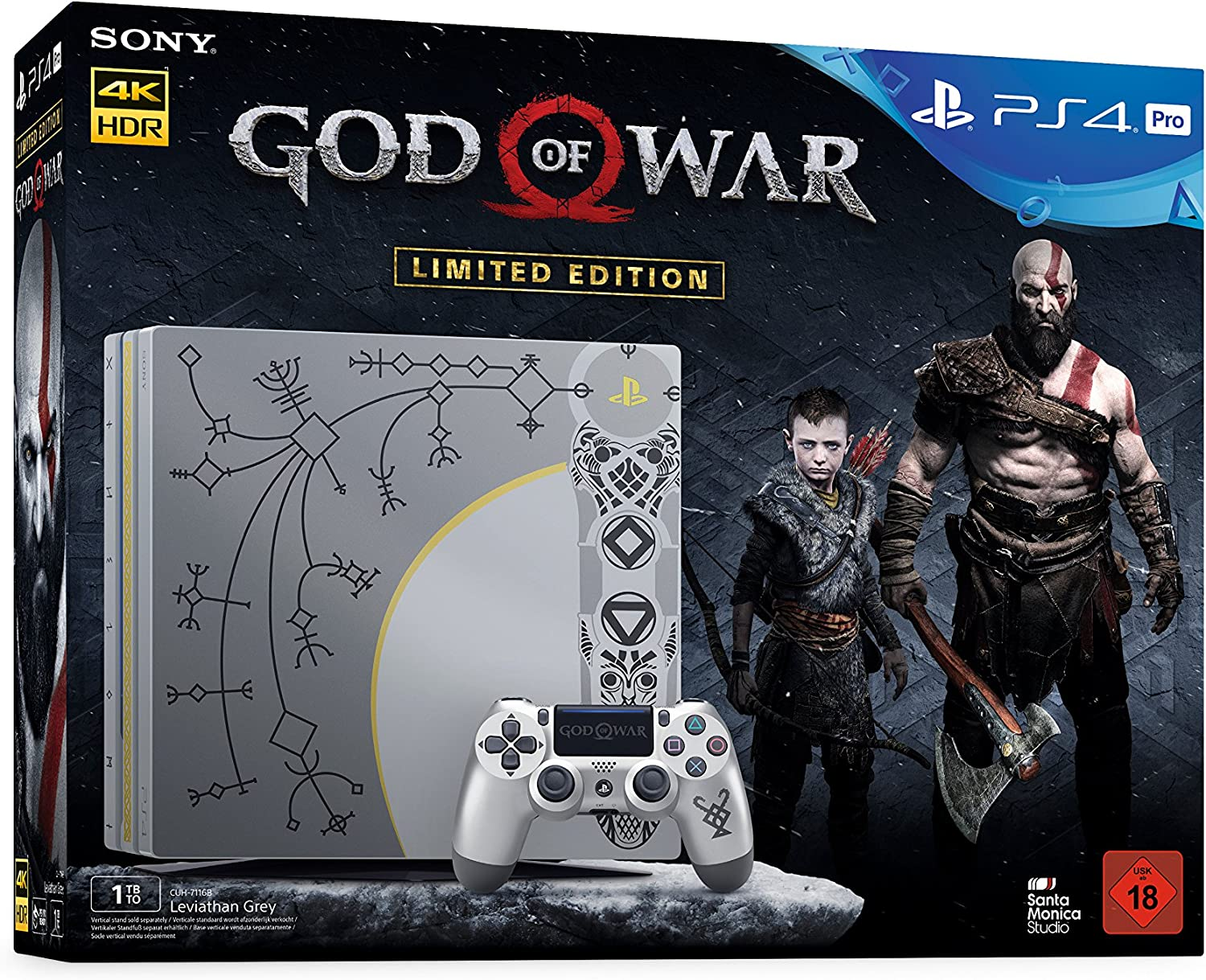 PlayStation 4 1TB PRO Limited Edition + God of War Day 1 Edition ...