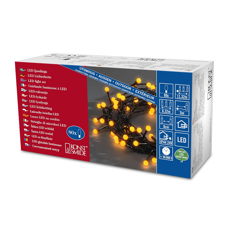 f/ür Au/ßen //  24V Au/ßentrafo IP44 Konstsmide 3611-000 Micro LED Lichterkette schwarzes Kabel 80 gelbe Dioden