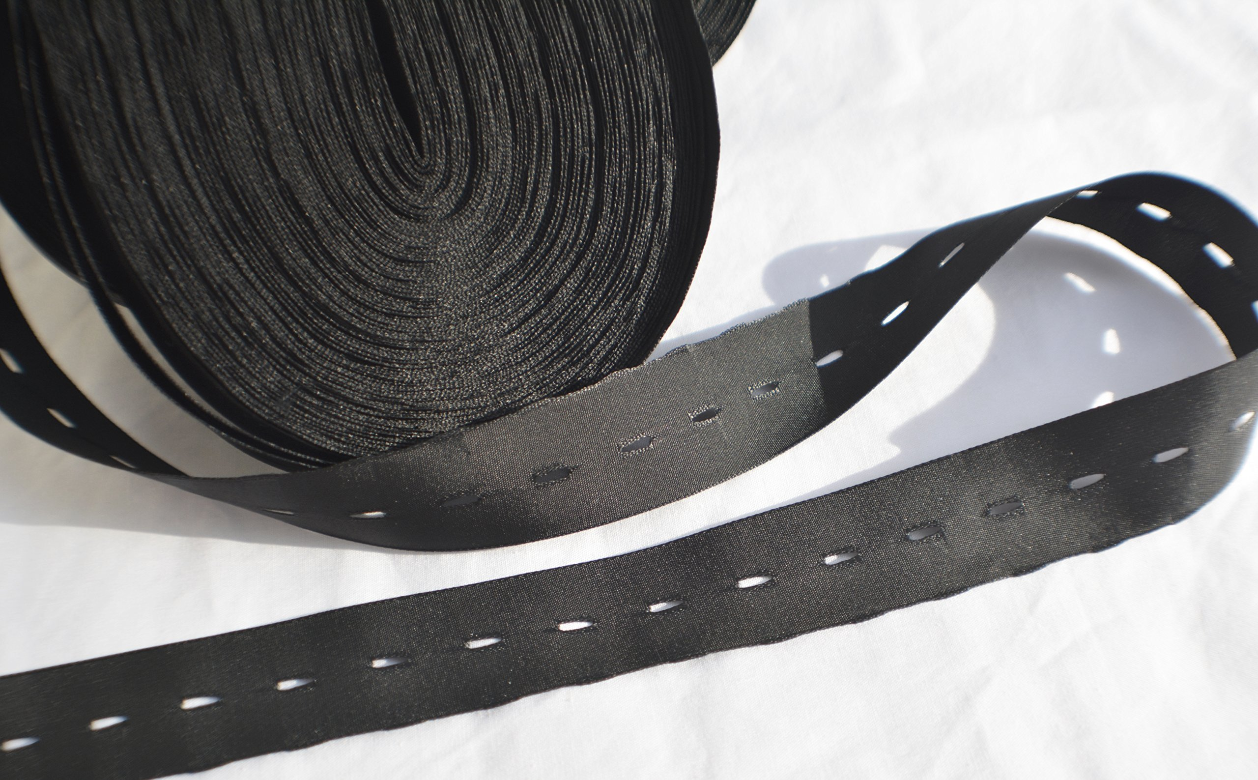 20mm (3/4'') SILK BOW TIE SIZE ADJUSTMENT RIBBONS with Hardware (Eye and T-hook) - choose 25 / 50 / 100 yards (25 Yards + 75 sets/hardware) by Thackery Handmade