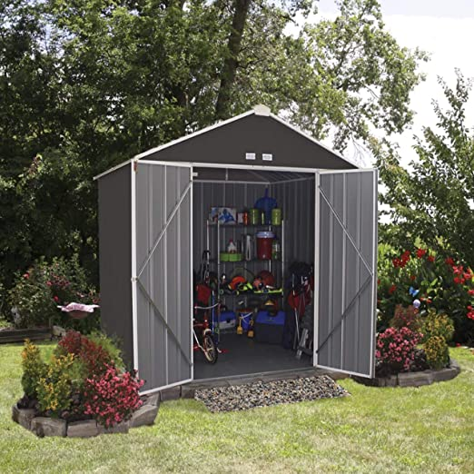 SpaceMaker metal dispositivos hogar, jardín hogar, caseta eZee gris/crema, 238 x 218 x 231 cm//Metal Jardín Casa: Amazon.es: Jardín