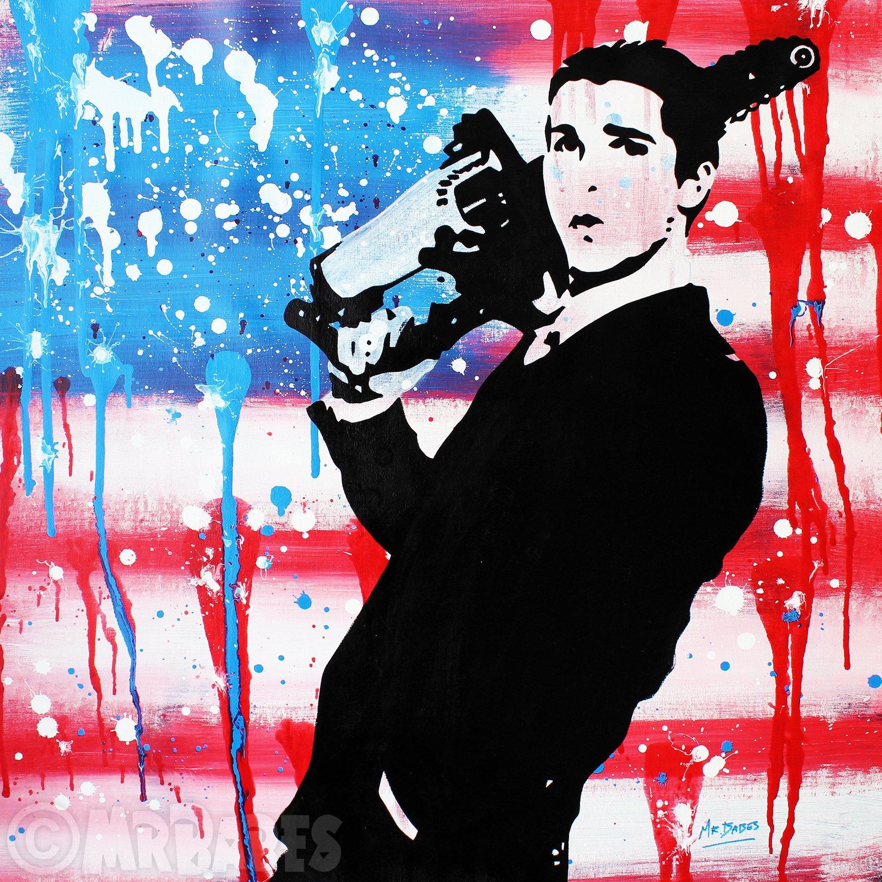 MR.BABES - ''American Psycho: Patrick Bateman (Christian Bale)'' - Original Pop Art Painting - Movie Portrait by MR.BABES