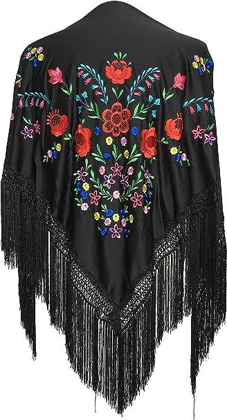 La Señorita Mantones bordados Flamenco Manton de Manila negro con flores de colores diferentes