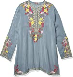 Johnny Was Women's Rayon Contrast Embroidered Blouse