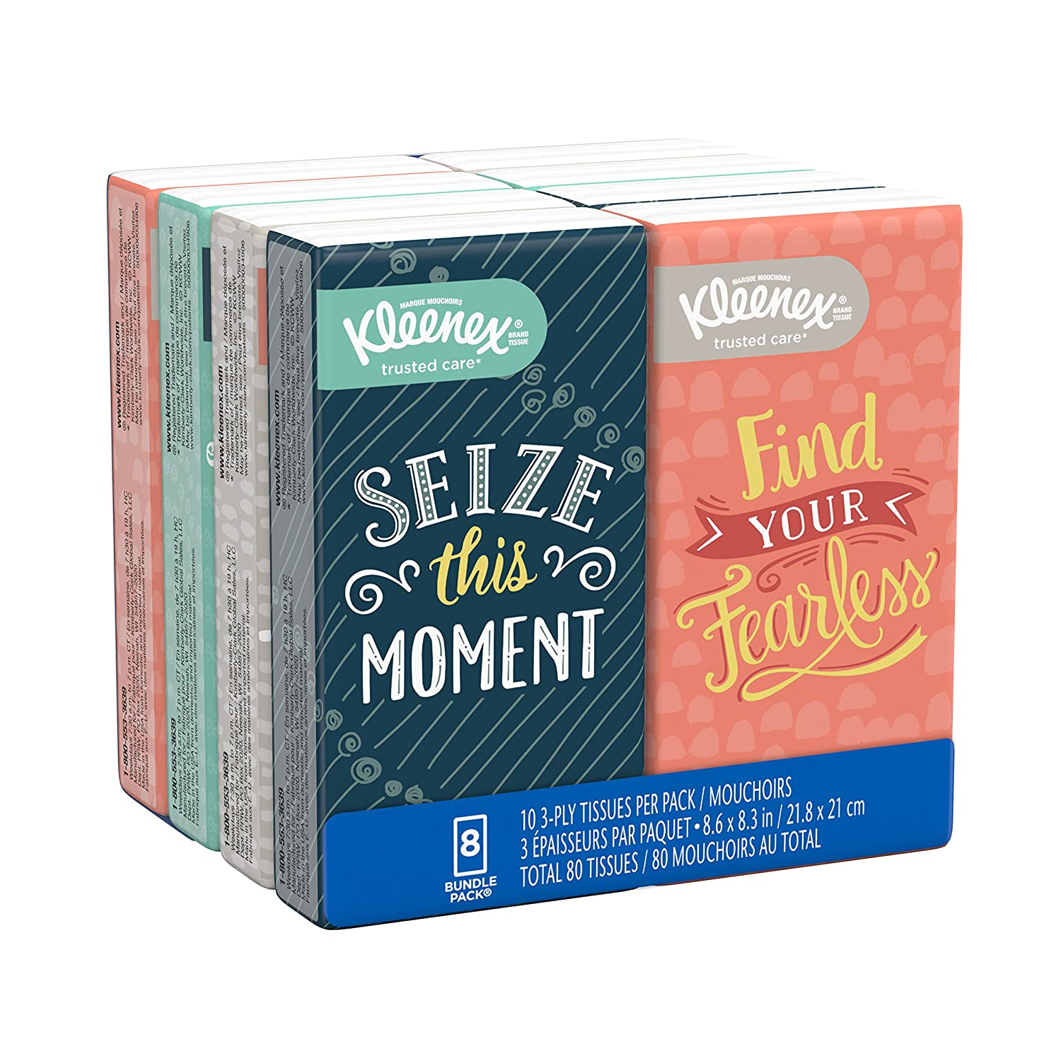 Kleenex Facial Tissues, On The Go Pack, 10 Tissues Per Go Pack, 8 Pack by Kleenex