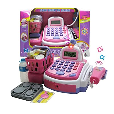Lvnvtoys Activity Learning Family Battery Operated Electronic Cash Register Toy Pretend Play Microphone, Scanner, Money and Credit Card, Groceries with Sound Pink: Toys & Games