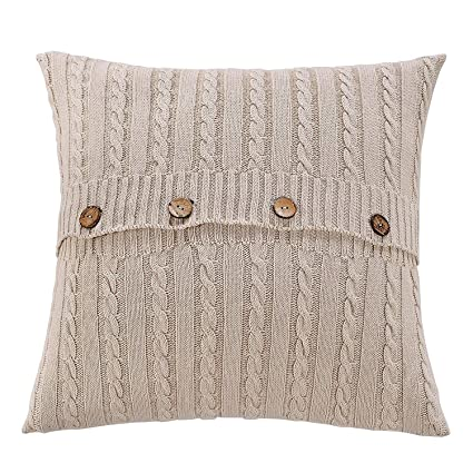 Amazoncom Sanifer Cable Knit Cotton Throw Pillow Cover 20x20