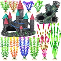 Fish Tank Decorations, 12 Pack Aquarium Decor Accessories Set with Castle and Tree Trunk Cave for Fish Hideouts…