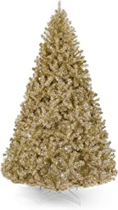 Best Choice Products 6ft Artificial Tinsel Christmas Tree Holiday Decoration w/ 1,477 Tips, Foldable Stand, Champagne Gold