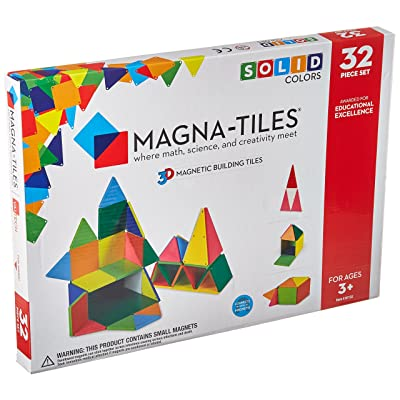 Magna-Tiles 32-Piece Solid Colors Set – The Original, Award-Winning Magnetic Building Tiles – Creativity and Educational – STEM Approved: Toys & Games