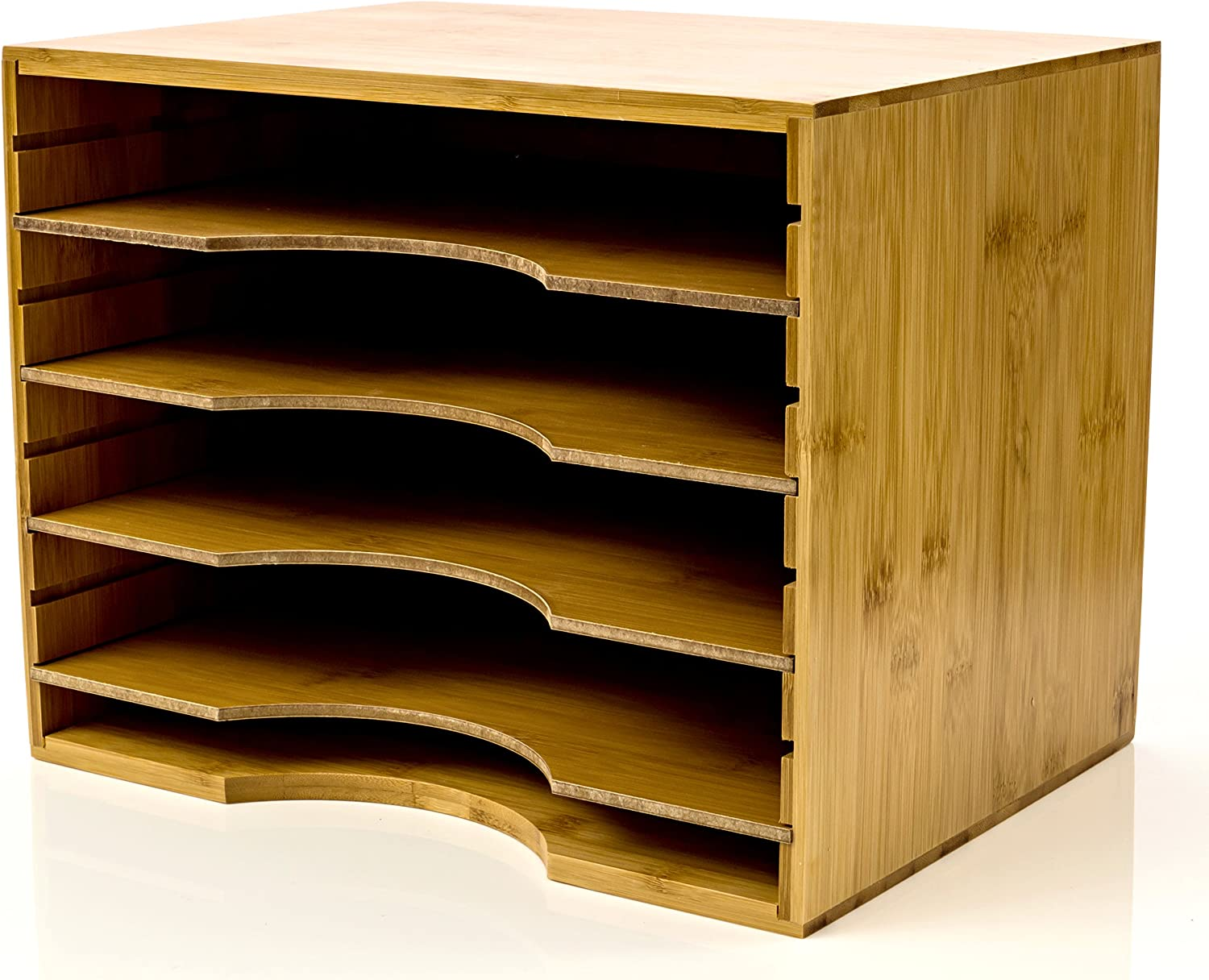 File Organizer Mail sorter, With Four Adjustable Dividers Natural Bamboo wood Color By Intriom Bamboo Collection (File Organizer)